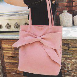 Faux Suede Bow Shoulder Bag - PINK