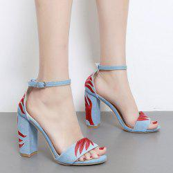 Ankle Strap Block Heel Embroidery Sandals - LIGHT BLUE