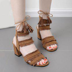 Fringe Tie Up Block Heel Sandals