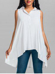 Sleeveless Lace Trim High Low Tunic Shirt - WHITE