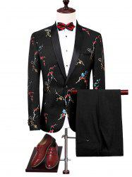 Shawl Collar Flower Pattern Blazer Suit - BLACK