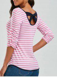 Long Sleeve Bowknot Striped T-Shirt