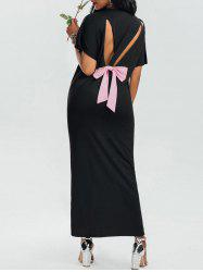 Back Cutout Bowknot Loose Fit Maxi Dress