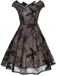 Back Cutout Lace Vintage Fit and Flare Dress