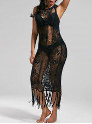 See Through Fringed Crochet Dress