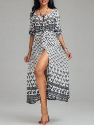 High Split Tribal Print Button Down Bohemian Dress - WHITE