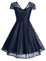 Retro Bowknot Lace Fit and Flare Dress