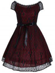 Vintage Slash Neck Lace Overlay Dress - Rouge vineux  XL