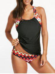 Printed Cut Out Blouson Tankini Swimwear - BLACK