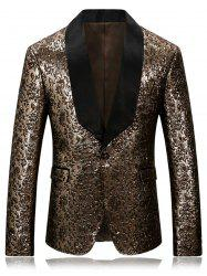 One Button Shawl Collar Metallic Blazer