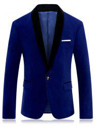 One Button Shawl Collar Velveteen Blazer