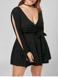 Plunging Neck Split Sleeve Mini Plus Size Dress