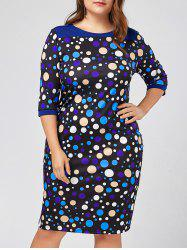 Plus Size Polka Dot Sheath Knee Length Dress with Sleeves