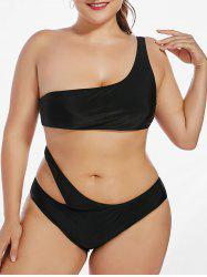 One Shoulder Plus Size One Piece Monokini Swimsuit