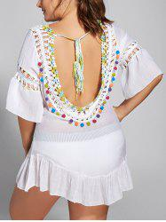 Backless Plus Size Flounce Crochet Panel Cover Up
