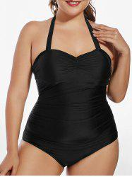 Halter Padded One Piece Plus Size Swimsuit