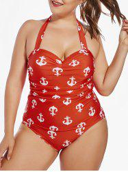 Padded Halter Anchor Print Plus Size One Piece Swimsuit
