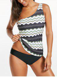 One Shoulder Zigzag Blouson Tankini Set - COLORMIX S