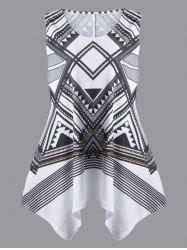 Plus Size Sleeveless Geometric Handkerchief T-shirt