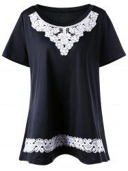 Lace Insert Plus Size Tunic Top