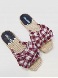 Bowknot Gingham Espadrille Slides - RED