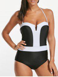 Strapless Bandeau One Piece Swimsuit - WHITE AND BLACK
