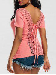 Laced Lace-up Top - ORANGEPINK
