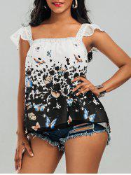 Laced Butterfly Print Chiffon Top