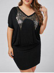 Plus Size Sequin Mini Bodycon Dress -