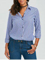 Stripes Long Sleeve Formal Shirt - BLUE AND WHITE