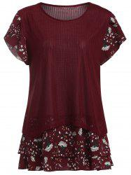 Flroal Ribbed Semi Sheer Plus Size Ruffle Top