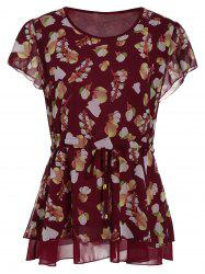 Drawstring Plus Size Chiffon Printed Peplum Top