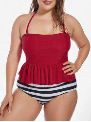 Stripe  Flounce Plus Size Halter Bandeau Swimsuit