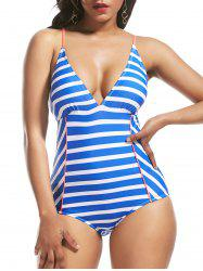 Striped Cross Back Lace Up Swimsuit