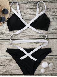 Bandage One Piece Swimsuit - BLACK L