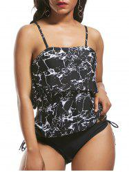 Splash Ink Cold Shoulder Blouson Tankini Set