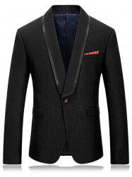 One Button Shawl Collar Blazer - BLACK