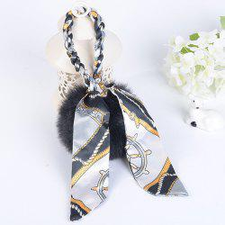 Silk Bowknot Puff Ball Keyring