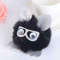 Animal Pattern Eyeglasses Pom Pom Ball Keyring - BLACK