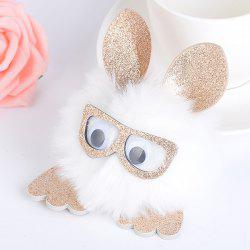 Animal Pattern Eyeglasses Pom Pom Ball Keyring -