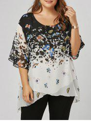 Plus Size Butterfly Pattern Overlap Blouse - COLORMIX