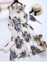 Drawstring Floral Pockets Midi Dress