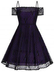 Vintage Spaghetti Strap Lace Fit et Flare Dress -