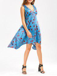 Empire Waist Floral Print Sleeveless Asymmetrical Dress