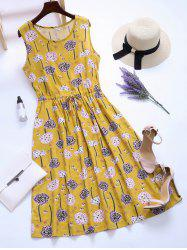 Dandelion Print Drawstring Midi Dress
