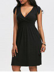 Empire Waist V Neck Cocktail Dress - BLACK