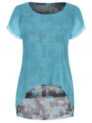 Chiffon Short Sleeve Printed Tunic Blouse