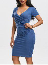 V Neck Ruched Surplice Dress - Azuré