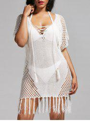 Lace Up Crochet Cover Up Top - WHITE
