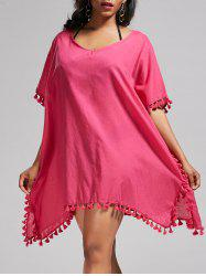 Oversized Batwing Sleeve Swing Tunic Cover Up Dress -